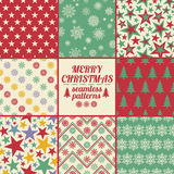 Retro Set Of Christmas And New Year Seamless Patterns. Royalty Free Stock Image