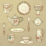 Retro set dishware Fotografia Royalty Free