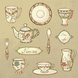 Retro set of dishware royalty free illustration