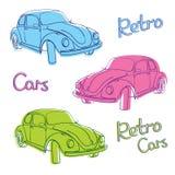 retro set för bilar Stock Illustrationer
