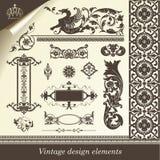 retro set för designelement Vektor Illustrationer
