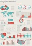 retro set för infographics Arkivbild