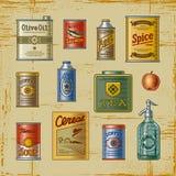 retro set för livsmedelsbutik Arkivfoto