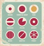 Retro set of food pictogram, icons and symbols. Vintage collection of minimalistic food related signs for web menu or restaurant menu. Retro poster design Royalty Free Stock Images