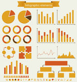 Retro set of infographic elements. Retro infographics. Set of charts, graphs and icons - vintage details for presentation and design. Vector illustration Stock Photography