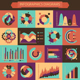 Retro set of  infographics charts and diagrams for Royalty Free Stock Photography