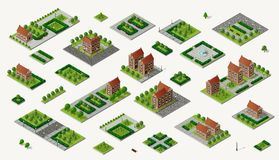 Retro isometric country house. Retro set isometric country college house municipal infrastructure and kit city educational objects Stock Photo