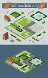 Retro isometric country house. Retro set isometric country college house municipal infrastructure and kit city educational objects Royalty Free Stock Image