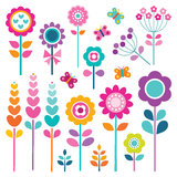 Retro Set Of Flowers In Spring Colors