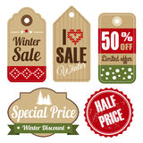 Retro set, sale  winter christmas vintage labels. Retro set of winter christmas vintage sale and quality labels, cardboard tags,  illustration Royalty Free Stock Photography