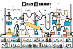 Retro set science experiment equipment in a chemistry laboratory background concept. Vector illustration design in lines Stock Images