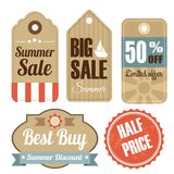 Retro set of summer vintage sale labels,. Cardboard tags,  illustration Stock Images