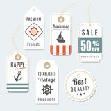 Retro set of summer vintage sale and quality labels Stock Photos