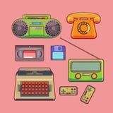 Retro set technology. Color and bright vector set, sticker retro technology: telephone, tape recorder, radio, videotapes, typewriter Stock Photos