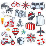 Retro set of travel icons and symbols Stock Photography