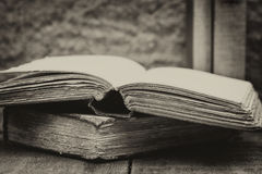 Retro setting and effect of antique vintage books Stock Photo