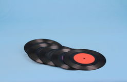 Retro seven single records Stock Photography