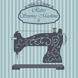 Retro sewing machine with floral ornament on hipster background. Vintage sign design. Old fashion theme label Stock Photos