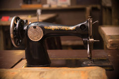 Retro sewing machine with pattern, old style Royalty Free Stock Image