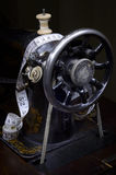 Retro sewing machine from pulley side Stock Photos