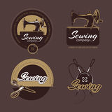 Retro sewing and tailoring vector logo, labels badges set Stock Photo