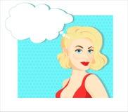 Retro sexy blonde meisje denkt Stock Foto