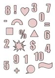 Retro shapes and figures in the style of the 90s Outline and pink color Abstract forms. Retro shapes and figures in the style of the 90s Outline and pink color Stock Photo