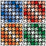 Retro Shapes Pattern. In  four monochromatic colorways repeats seamlessly Stock Photography