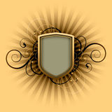 Retro shield. On a floral background Stock Image