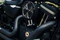 Retro shiny chrome motorcycle moto engine image. Royalty Free Stock Photography