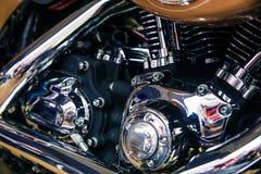 Retro shiny chrome motorcycle moto engine image. Stock Photo