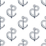 Retro ship anchors seamless pattern with twisted Royalty Free Stock Photography