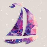 Retro ship  background made of triangles. Stock Photos