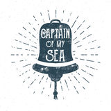 Retro ship bell tee design. Vintage sea label. Nautical emblem with inspiration quote typography. Captain of my Stock Photography