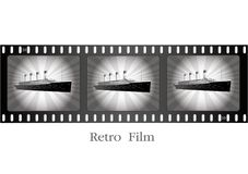 Retro ship on film. Vector - Illustration - Drawing Royalty Free Stock Images