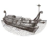 Retro ship vector logo design template. boat or Royalty Free Stock Image