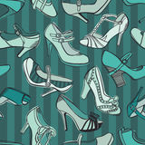 Retro shoes seamless pattern Stock Photography