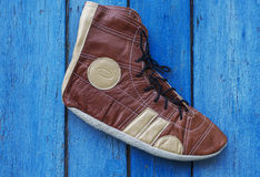Retro shoes sportsman, freestyle wrestling Royalty Free Stock Image