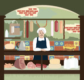 Retro shop with meat and cheese assortment Stock Image