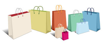 Retro Shopping Bags, Carrier Bags Icons Symbols Royalty Free Stock Photos