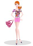 Retro shopping girl. Cute girl dressed in retro fashion with a hand bag Royalty Free Stock Images