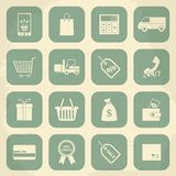 Retro shopping icons. Vector illustration Royalty Free Stock Images