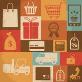 Retro shopping icons. Vector illustration Royalty Free Stock Photography