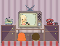 Retro show. People watch TV. Illustration in Royalty Free Stock Photos