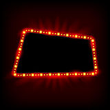 Retro Showtime 1950s Sign Design. Neon Lamps billboard. Cinema and theater Signage Light Bulbs Frame for Sale flyers Stock Photo