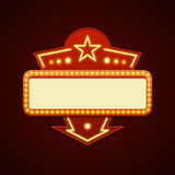 Retro Showtime Sign Design Cinema Signage Light Bulbs Billboard Royalty Free Stock Images