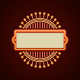 Retro Showtime Sign Design. Cinema Signage Light Bulbs Frame and Neon Lamps on brick wall background. royalty free illustration
