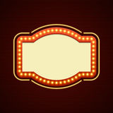 Retro Showtime Sign Design. Cinema Signage Light Bulbs Frame and Neon Lamps on brick wall background. Royalty Free Stock Images
