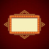 Retro Showtime Sign Design. Cinema Signage Light Bulbs Frame and Neon Lamps on brick wall background. stock illustration