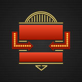Retro Showtime Sign Design. Cinema Signage Light Bulbs Frame and Neon Lamps on brick wall background. Royalty Free Stock Photos